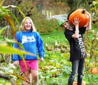 6th graders Kayla and David harvest pumpkins at Cascadian Farm on October 22, 2015.jpg