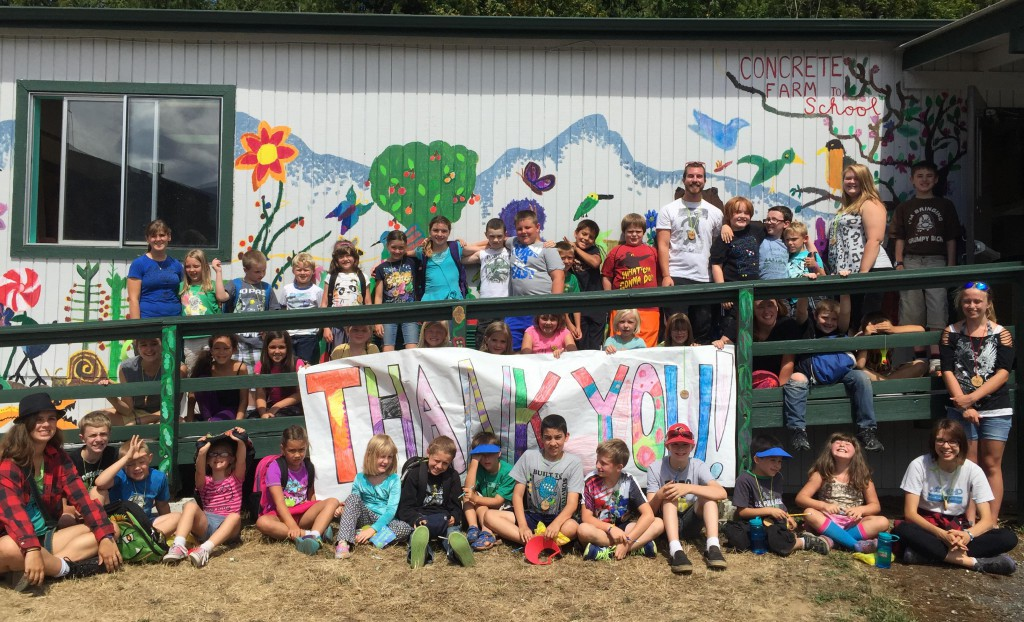 Concrete Summer Learning Adventure Campers in front of the Farm to School classroom.