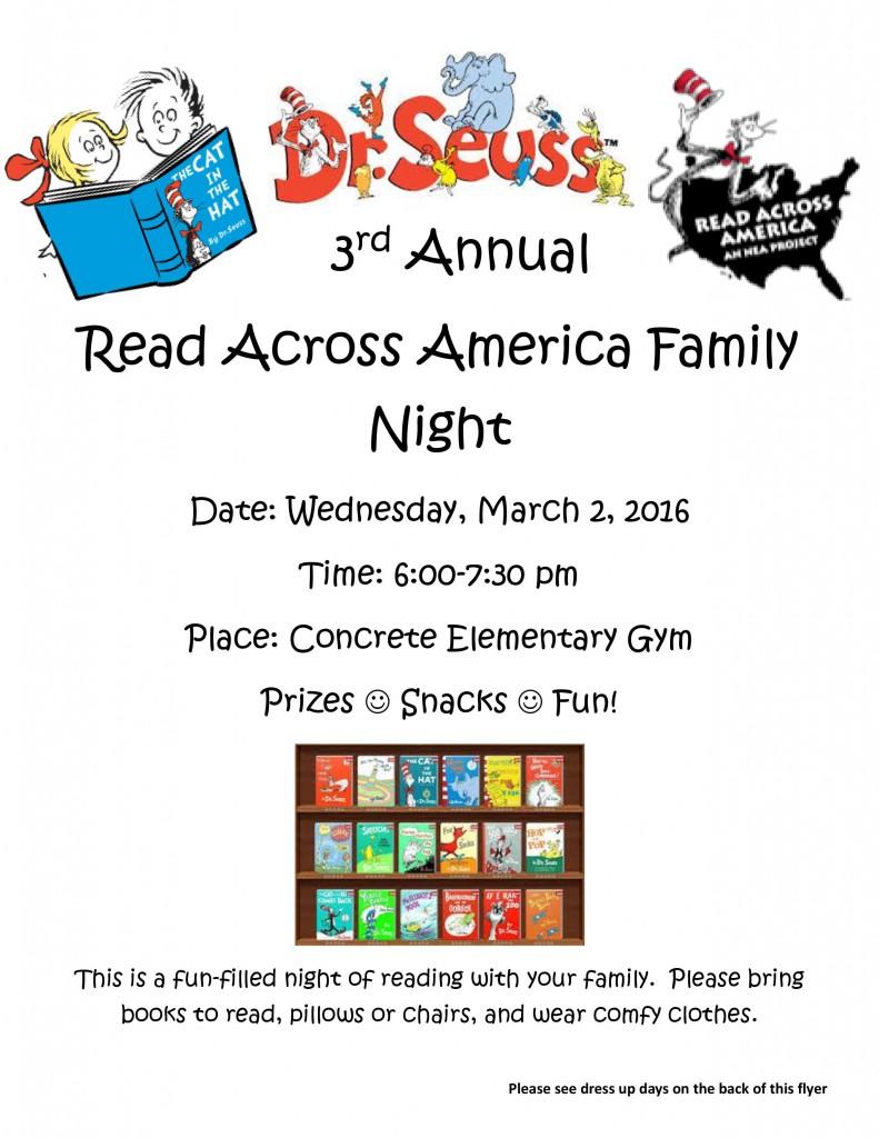 Dr. Seuss 3rd Annual Read Across America Family Night