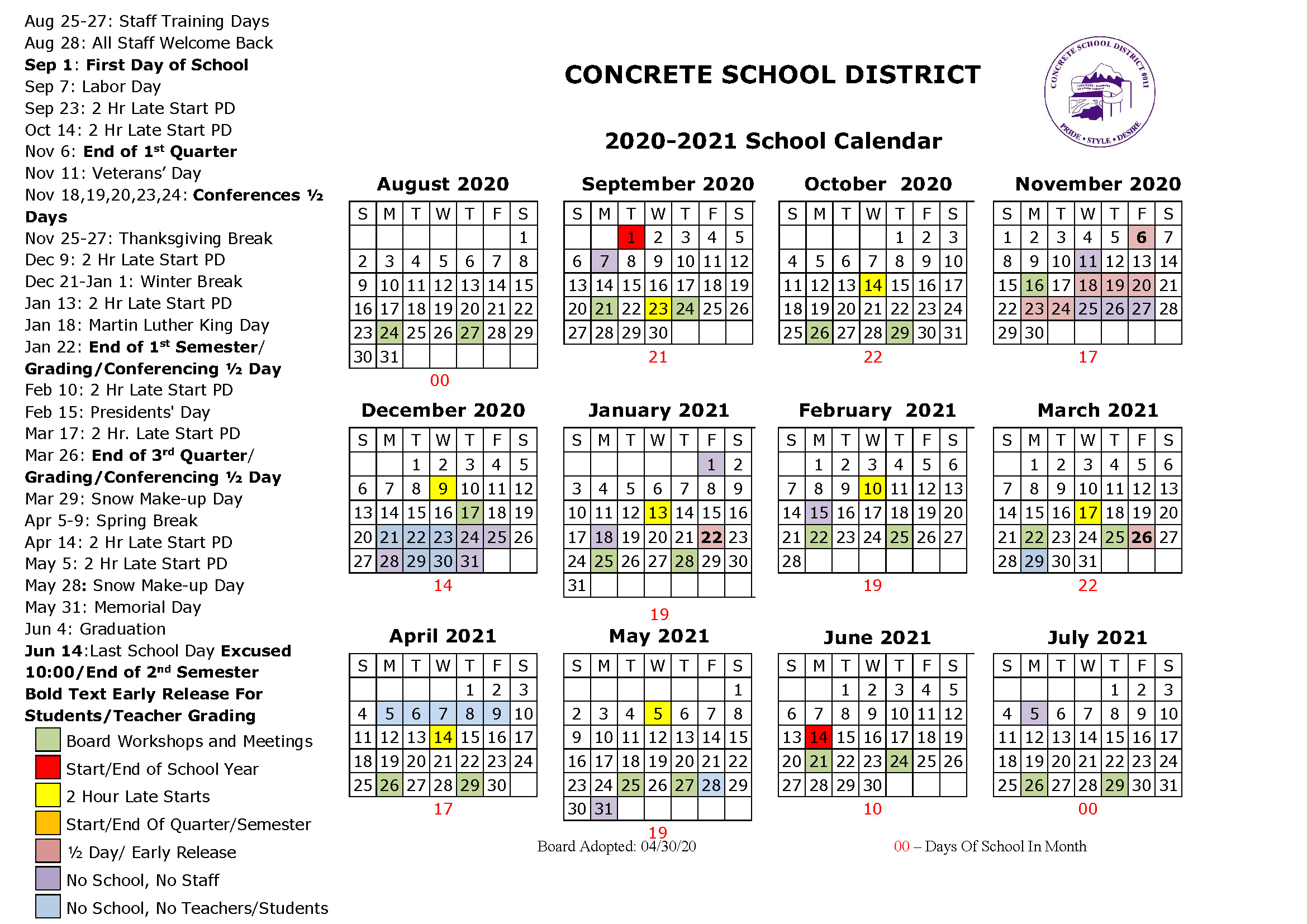 Concrete School District 2020-2021 School Calendar
