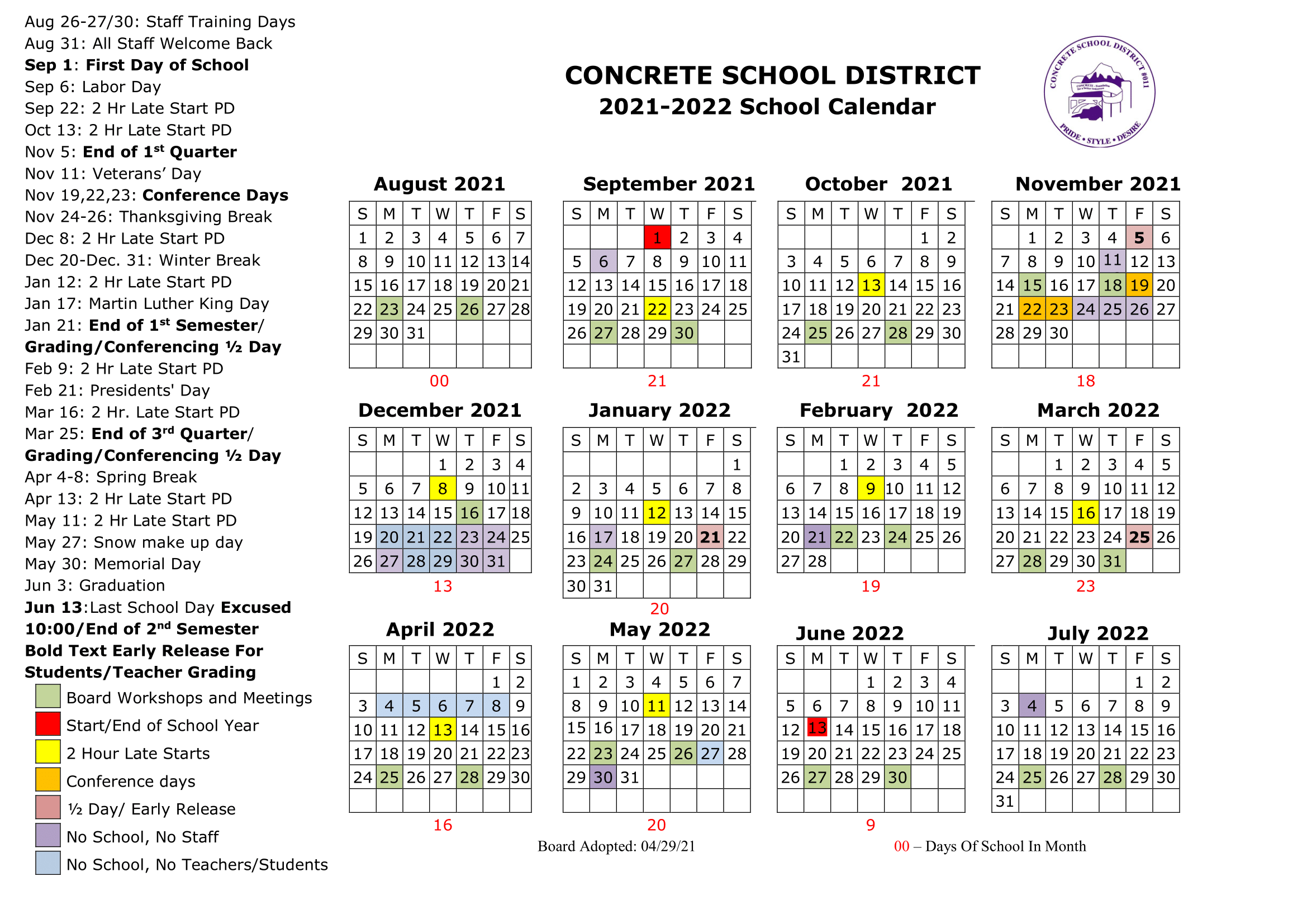 2021-2022 Concrete School District School Calendar
