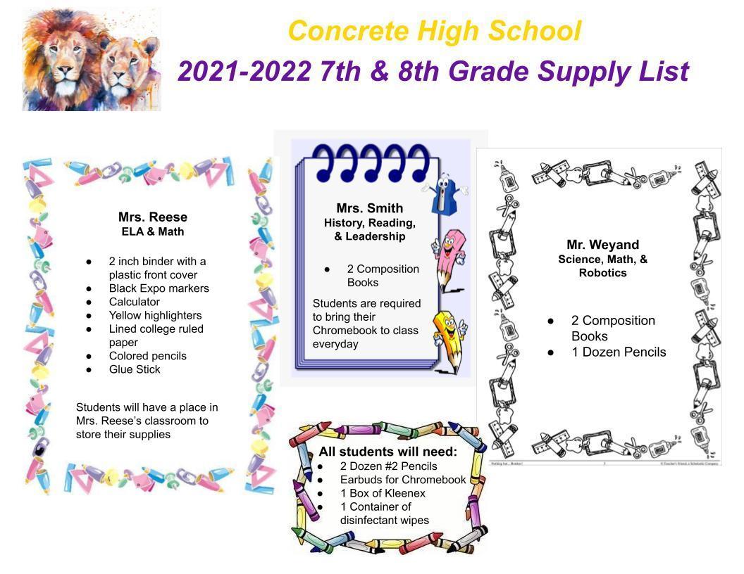 7/8 Grade Supply List